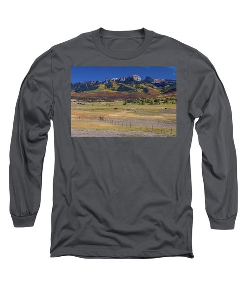 Long Sleeve T-Shirt featuring the photograph Courthouse Mountains And Chimney Rock Peak by James BO Insogna
