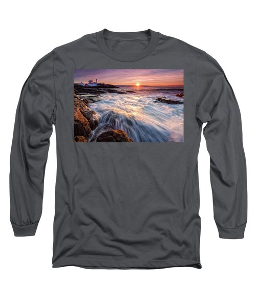 Crashing Waves At Sunrise, Nubble Light.  Long Sleeve T-Shirt