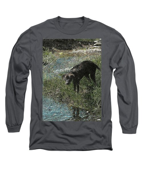 Dog By The River Bank Long Sleeve T-Shirt