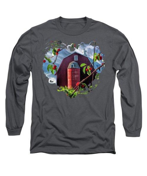 Door County Cherry Harvest Red Barn Long Sleeve T-Shirt