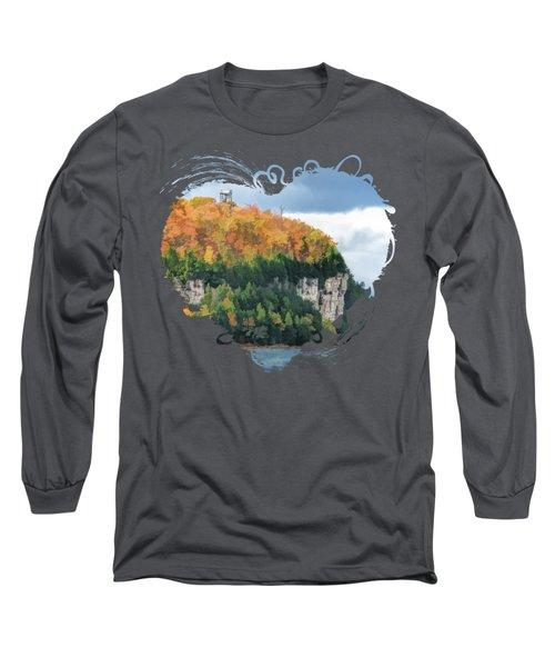 Door County Peninsula State Park Bluff Panorama Long Sleeve T-Shirt