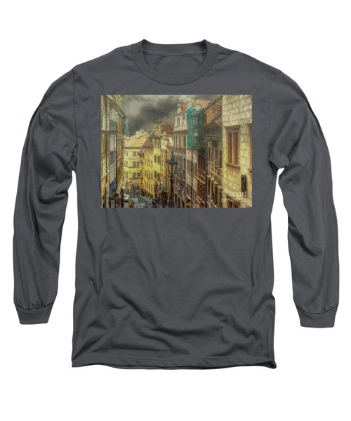 Long Sleeve T-Shirt featuring the photograph Downhill, Downtown, Prague by Leigh Kemp
