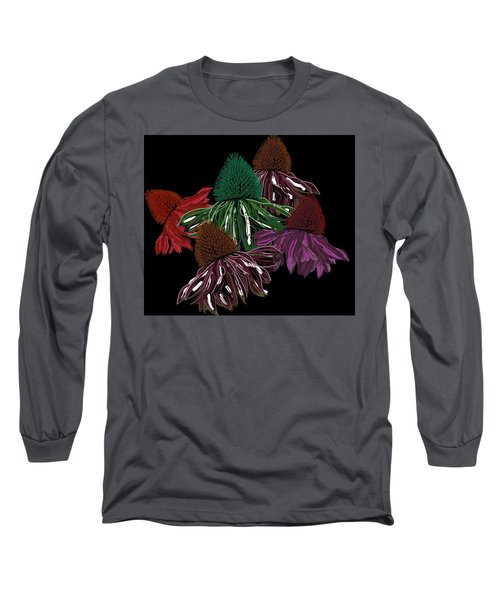 Echinacea Flowers With Black Long Sleeve T-Shirt