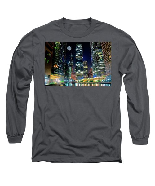 Fabulous Full Moon Over The Windy City Long Sleeve T-Shirt