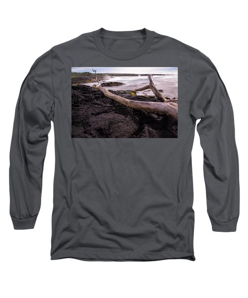Fallen Tree At Punalu'u Beach Long Sleeve T-Shirt
