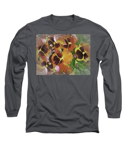 Long Sleeve T-Shirt featuring the mixed media Flaming Pansies 9  by Lynda Lehmann