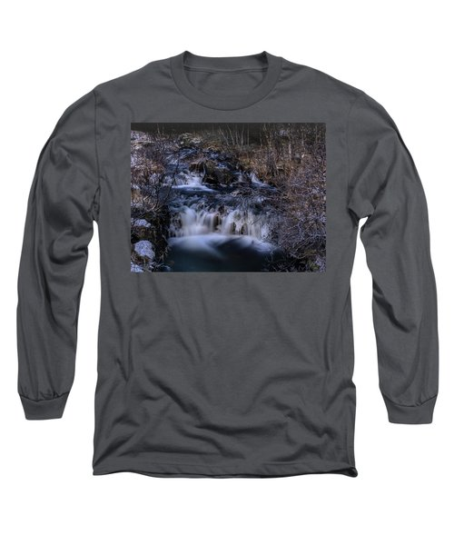 Frozen River In Forest - Long Exposure With Nd Filter Long Sleeve T-Shirt