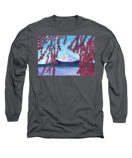 Sakura Blooming On The Background Of A Snowy Mountain Long Sleeve T-Shirt