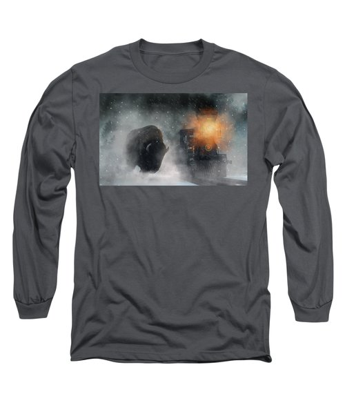 Giant Buffalo Attacking Train Long Sleeve T-Shirt