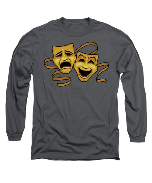 Gold Comedy And Tragedy Theater Masks Long Sleeve T-Shirt