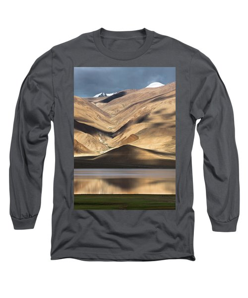 Long Sleeve T-Shirt featuring the photograph Golden Light Tso Moriri, Karzok, 2006 by Hitendra SINKAR