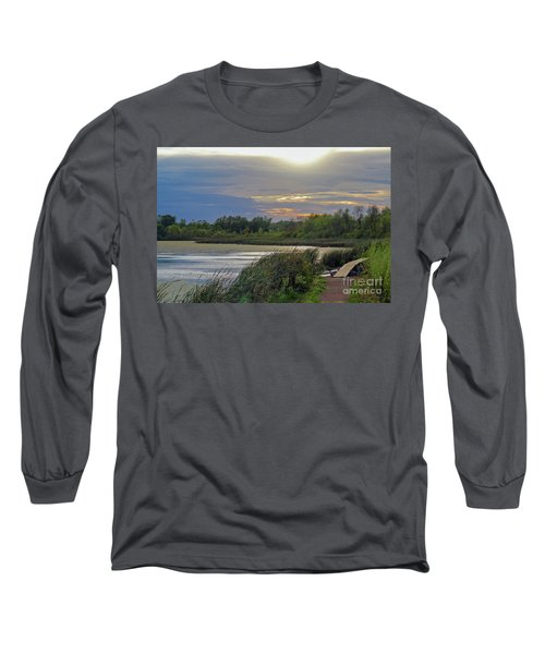 Golden Sunset Over Wetland Long Sleeve T-Shirt