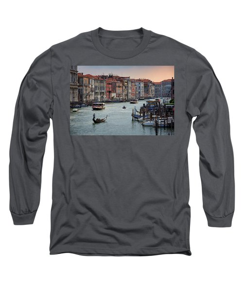 Grand Canal Gondolier Venice Italy Sunset Long Sleeve T-Shirt