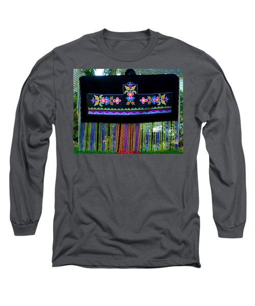 Long Sleeve T-Shirt featuring the tapestry - textile Grand Mothers Garden by Chholing Taha