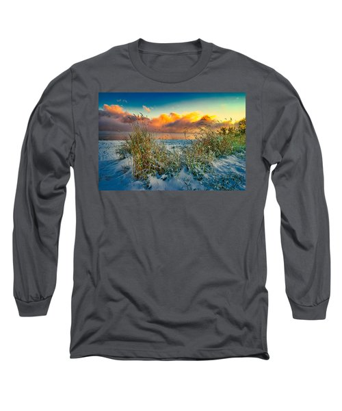 Grass And Snow Sunrise Long Sleeve T-Shirt