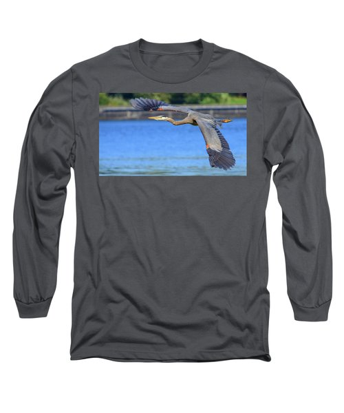 Great Blue Heron In Flight Long Sleeve T-Shirt