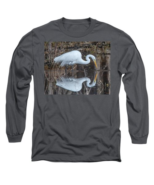 Great Egret In Breeding Plumage Dmsb0154 Long Sleeve T-Shirt
