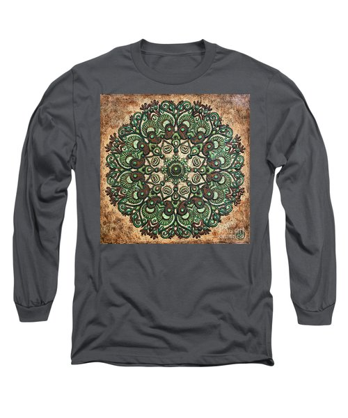 Green Mandala Long Sleeve T-Shirt