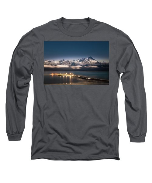 Homer Spit With Moonlit Mountains Long Sleeve T-Shirt