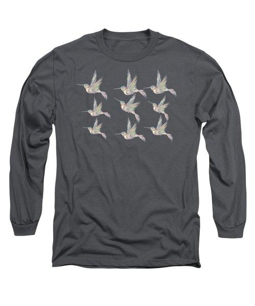 Hummingbird Pattern Long Sleeve T-Shirt
