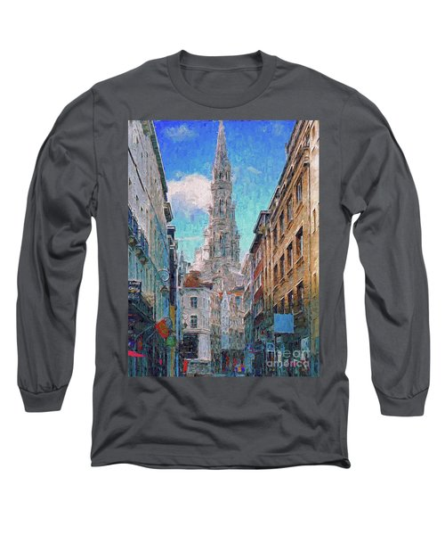 Long Sleeve T-Shirt featuring the photograph In-spired  Street Scene Brussels by Leigh Kemp