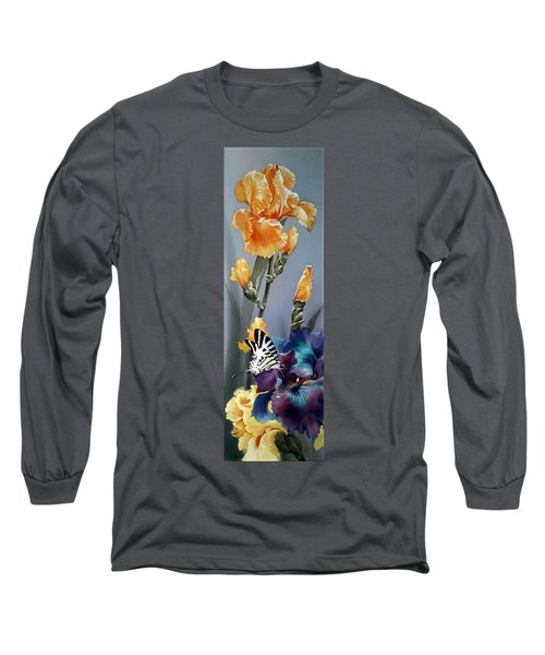 Iris Flower With Butterfly Long Sleeve T-Shirt