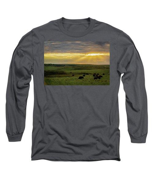 Kansas Flint Hills Sunset Long Sleeve T-Shirt