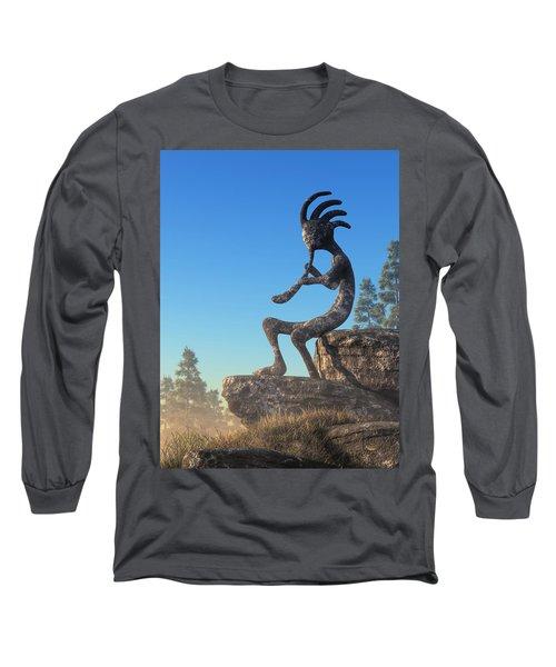 Kokopelli Statue Long Sleeve T-Shirt