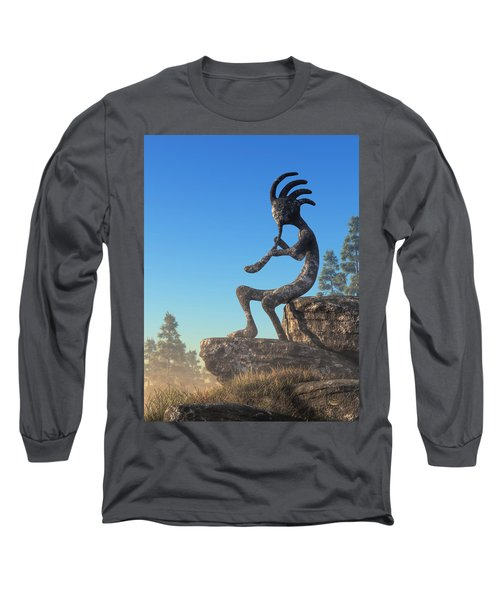 Kokopelli Statue Long Sleeve T-Shirt