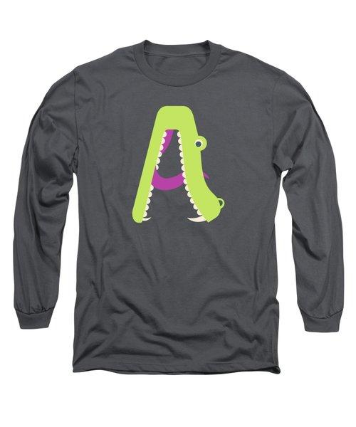 Letter A - Animal Alphabet - Alligator Monogram Long Sleeve T-Shirt