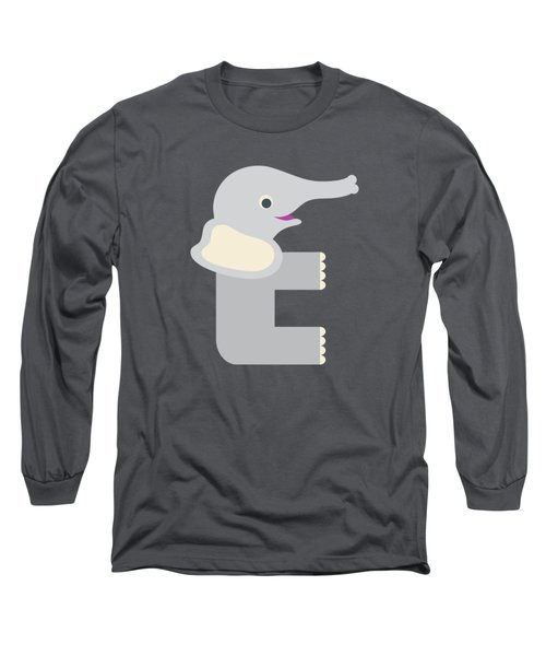 Letter E - Animal Alphabet - Elephant Monogram Long Sleeve T-Shirt