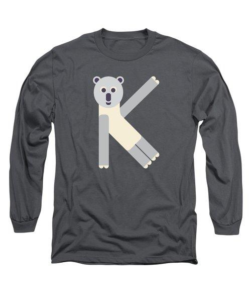 Letter K - Animal Alphabet - Koala Monogram Long Sleeve T-Shirt