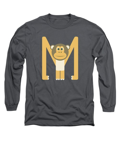 Letter M - Animal Alphabet - Monkey Monogram Long Sleeve T-Shirt