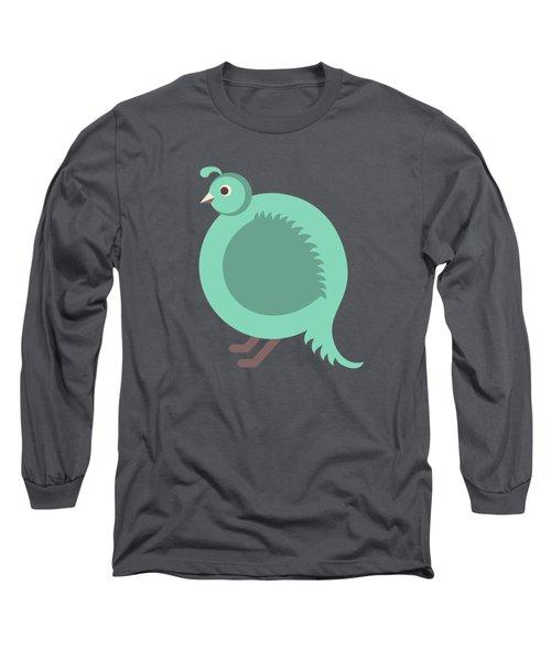 Letter Q - Animal Alphabet - Quail Monogram Long Sleeve T-Shirt