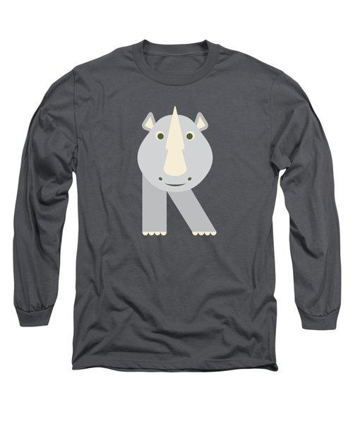 Letter R - Animal Alphabet - Rhino Monogram Long Sleeve T-Shirt