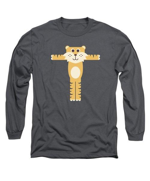 Letter T - Animal Alphabet - Tiger Monogram Long Sleeve T-Shirt