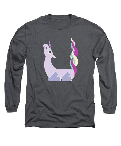 Letter U - Animal Alphabet - Unicorn Monogram Long Sleeve T-Shirt