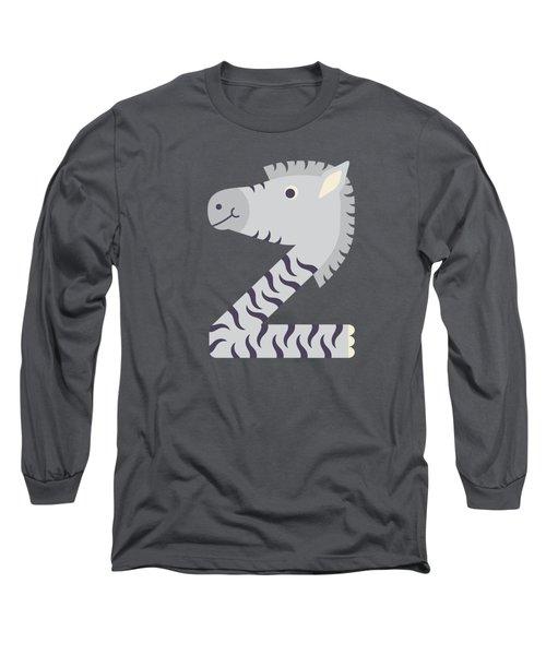 Letter Z - Animal Alphabet - Zebra Monogram Long Sleeve T-Shirt