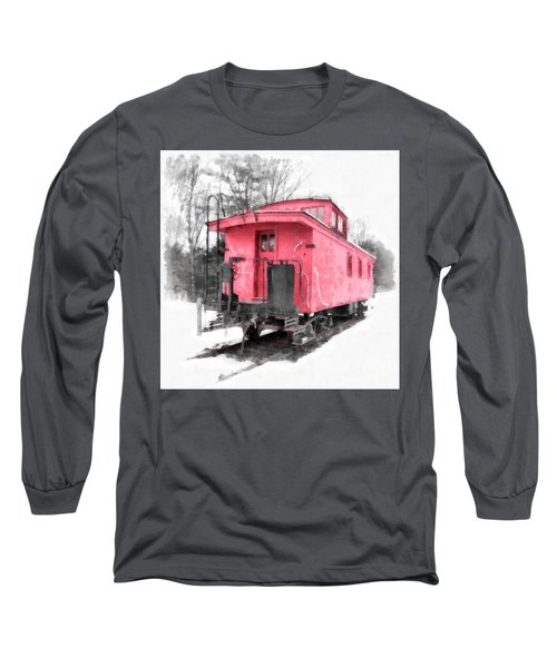 Little Red Caboose Watercolor Long Sleeve T-Shirt