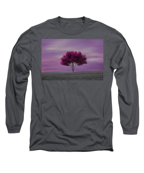 Lonely Tree At Purple Sunset Long Sleeve T-Shirt