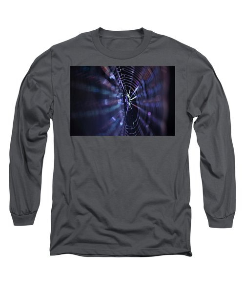 Macro Of A Spiders Web Captured At Night. Long Sleeve T-Shirt