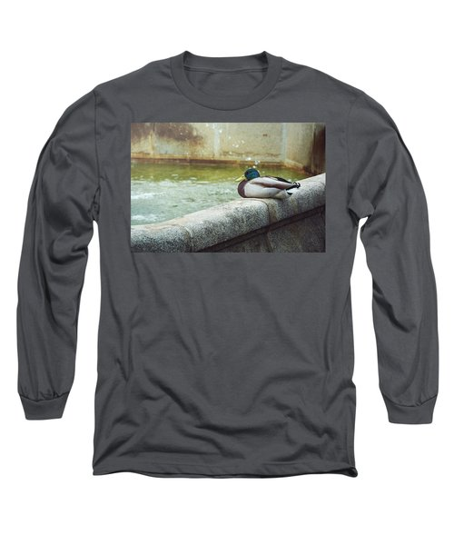 Mallard Resting On The Fountain Of The Fallen Angel In The Retiro Park - Madrid, Spain Long Sleeve T-Shirt
