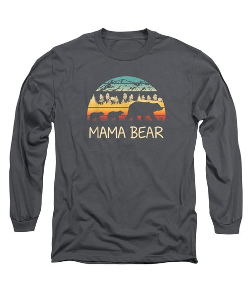 Mama Bear With 2 Cubs Shirt Retro Mountains Mother's Day Long Sleeve T-Shirt