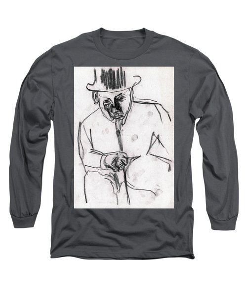 Man In Top Hat And Cane Long Sleeve T-Shirt