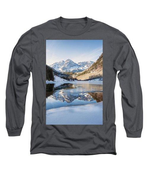 Maroon Bells Reflection Winter Long Sleeve T-Shirt