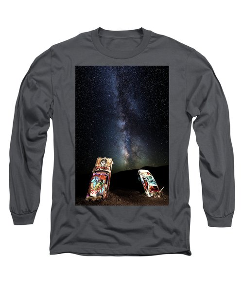 Milky Way Over Mojave Desert Graffiti 1 Long Sleeve T-Shirt