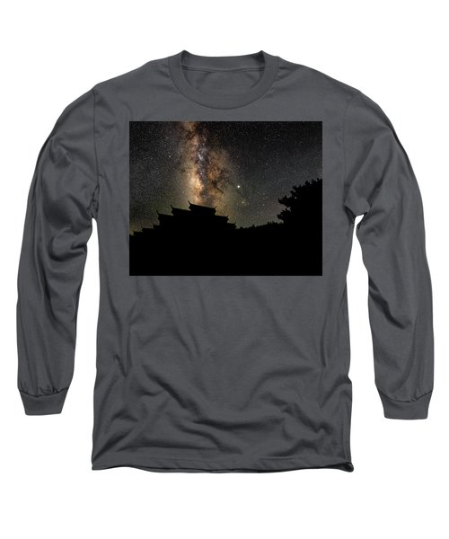 Milky Way Over The Dark Temple Long Sleeve T-Shirt