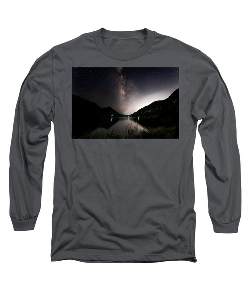 Milky Way Over The Ou River Near Longquan In China Long Sleeve T-Shirt