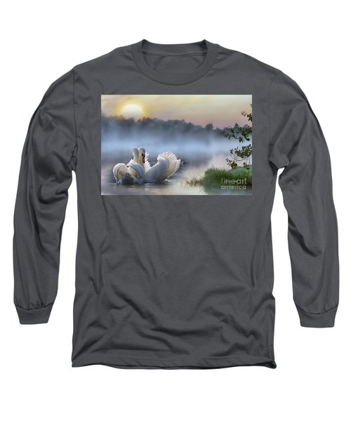 Misty Swan Lake Long Sleeve T-Shirt