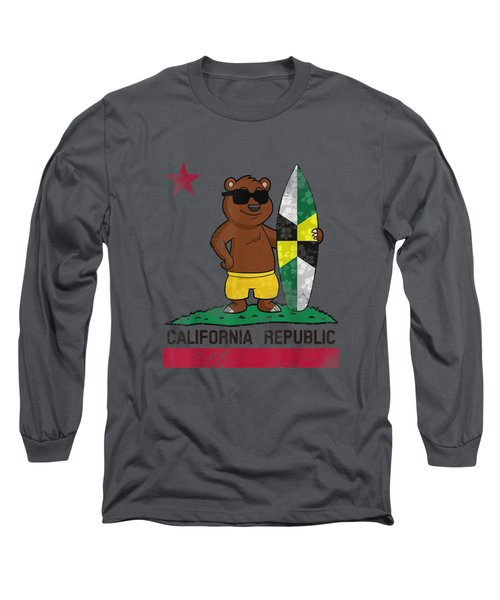 Monterey Flag California Republic T-shirt Surfer Bear Flag Long Sleeve T-Shirt